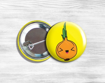 Kawaii Onion Vegan Vegetarian Fruit Vegetable Pinback Button Pin 1.75""