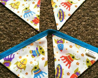 Bright, Colourful Alien & Spaceship Bunting