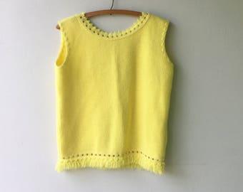 1960s Yellow Fringe MOD Sleeveless Sweater // Size Large