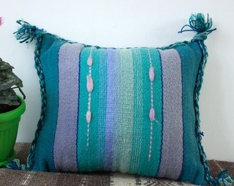 Handmade decorative cushion, boho cushion, kilim handwoven wool pillow cover, boho pillow case
