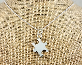 Autism & Asperger's Syndrome Awareness Necklace; Puzzle Piece; Sterling Silver
