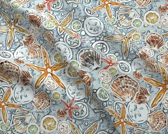 Sand Dollar Starfish Beach Fabric - Light Teal Sea By Lauriekentdesigns - Beach House Sea Shells Cotton Fabric By The Yard With Spoonflower
