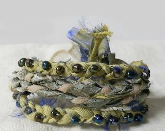 Silk Fabric Wrist Cuff Beaded Braided Boho Bracelet, Fairy Greens