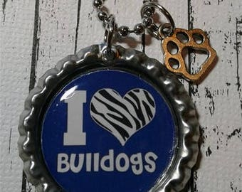Blue I Love Bulldogs Necklace