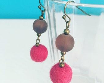 Newport Felt Earrings in Dark Pink / Purple, Gift Under 20, Gift for Her, Felt Balls, Merino Wool, Recycled Glass, Eco Friendly, Berry