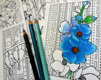 Flower Coloring Page #4 by Tempest Studios, Printable Adult Kids Mini Set