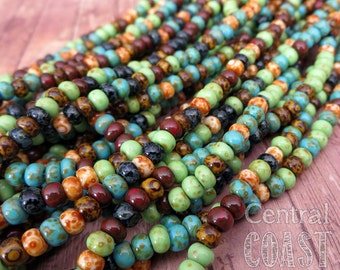 """Gypsy Island - Aged Striped 5/0 Czech Glass Rocaille Seed Beads - 20"""" strand - 4.5mm - Rustic Mix - Opaque Picasso - Central Coast Charms"""
