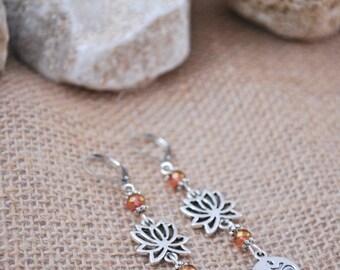 Lotus flower earrings, gypsy silver tone earrings, yoga drop earrings, ohm earrings, summer beach jewelry