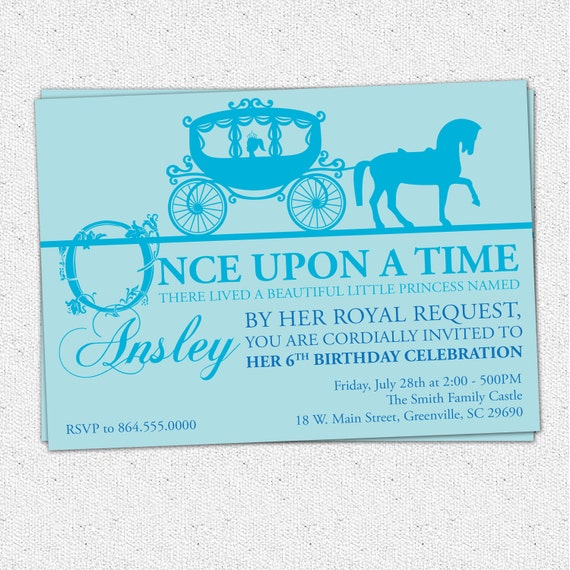 Princess Birthday Party Invitation Printable Girl Horse