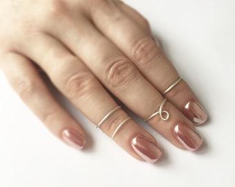 Sterling Silver Loop Midi Ring Set, Adjustable Rings, Womens Rings, Boho Rings, Over the knuckle rings