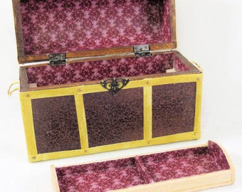"""Antique travel trunk in faux leather, """"brass"""" straps, brass handles, nails, divided removable tray. 1:12 scale miniature. Handmade USA."""