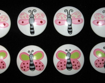 BUTTERFLIES and DRAGONFLIES - Kids Line Lady Bug Design - Hand Painted Wooden Dresser Knobs - Set of 8