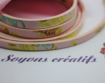 1 m strap in leather pink flowers 5mm - Creation jewels - P4606-