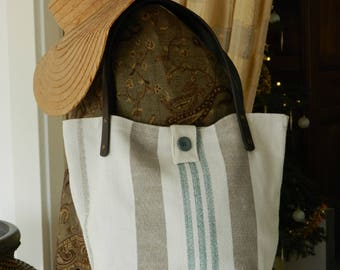 tote bag handmade cotton thick striped leather handles