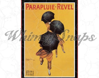 French Vintage Parapluie-Revel Ad DIGITAL IMAGE Download,  .png and .jpeg, transfer to burlap, totes, designs