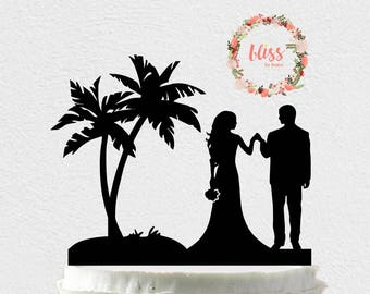 Beach Wedding Cake Topper. Personalized Cake Topper. Custom Wedding Cake Topper. Island Wedding. Beach Wedding. Destination Wedding Topper