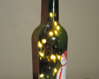 Lighted Snowman Bottle
