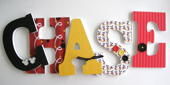 Set of 5 Decorated 9 Wooden Letters Nursery Name Décor
