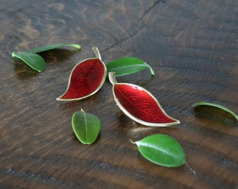 David-Andersen Norway Red Enamel Leaf Earrings - Vintage Norwegian Enameled Sterling Silver Clip On Earrings - Willy Winnaess Design