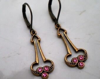 Vintage Banana Bob and Rose Pink Swarovski Crystal Earrings