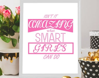 Printable quotes for girls, Pink wall art, what smart girls can do, Women quote, Girls print, Girl room decor, Instant download pink print