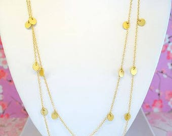 Gold circle long opera length double stranded necklace, Coachella bubble gold stacking dot disc necklace, Indian circle coin gold necklace