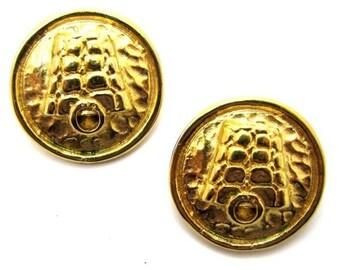 CELINE earrings, hammered metal