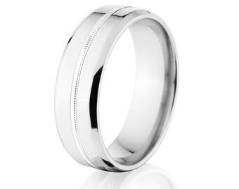 USA Made Cobalt Ring, Millgrain Wedding Band, Cobalt Wedding Band, Cobalt Jewelry: CB-8B1G-MGRN-P