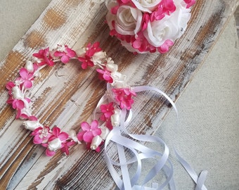 Pomander Ball and Flower Girl Hair Crown/ Wreath Set