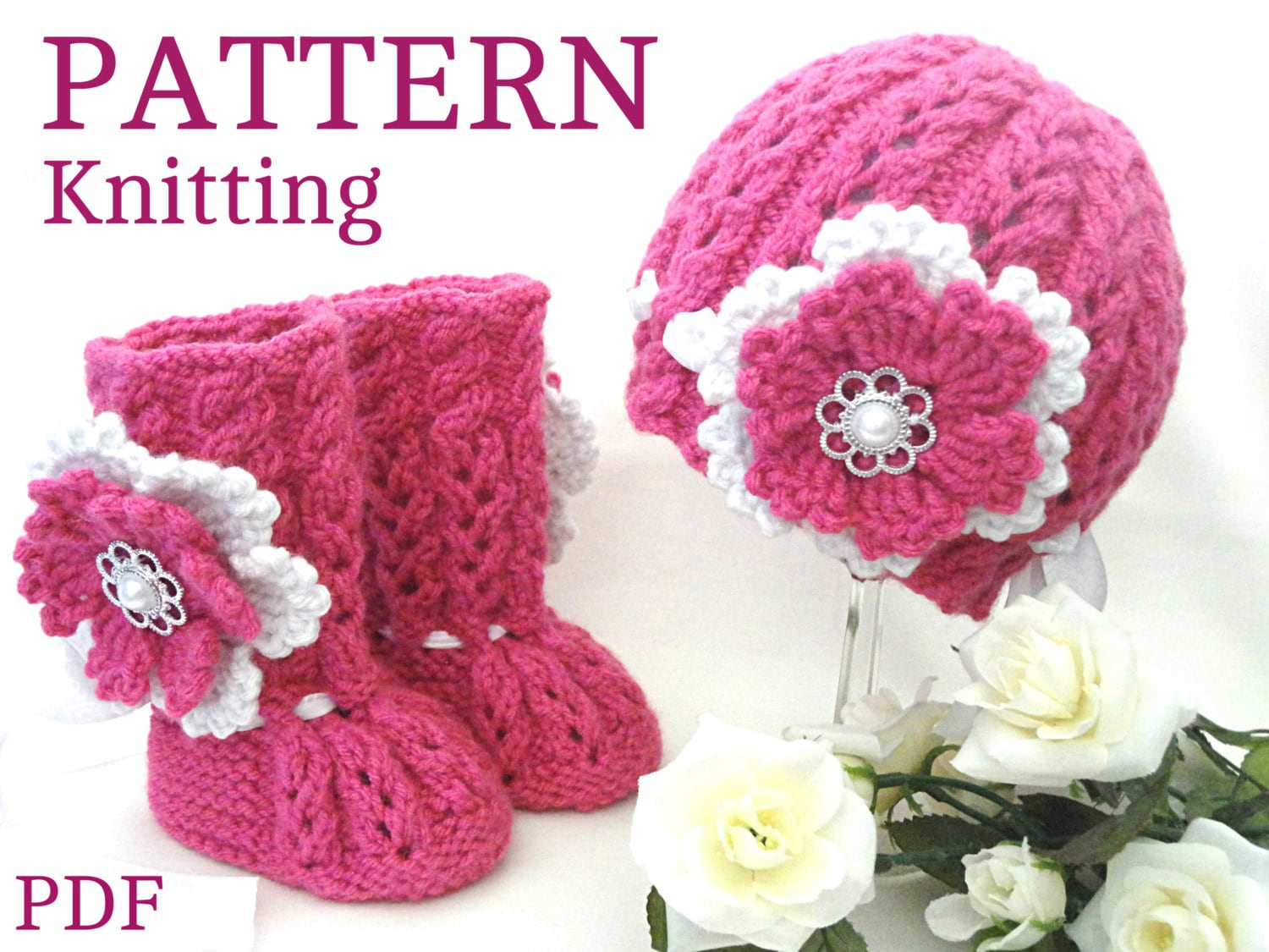 Knitting PATTERN Baby Booties Baby Shoes Patterns Knit Baby Hat Baby ...