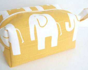 Yellow Elephant Makeup Bag - Waterproof Cosmetic Bag