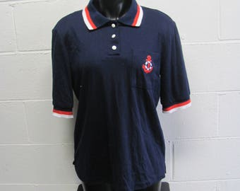 Vintage Nautical Embroidered Anchor Polo Shirt Vintage Retro Prep Sailor Shirt Nautical Boat Sea Blue Red and White