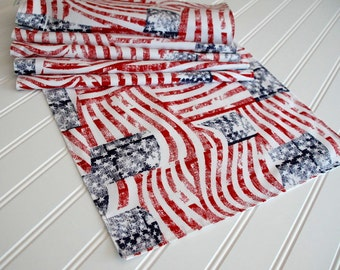July 4th Table Runner, Patriotic Table Runner, Red White & Blue Table Cloth, 13x72 Table Runner, 4th of July Table Decor