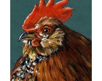 Red and Black Rooster Farm Animal Art Print by Dottie Dracos, kitchen, farm birds, fowl, chickens