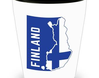 Finland Flag | Finnish Flag | Shot Glass | Finland Pride | White | Ceramic