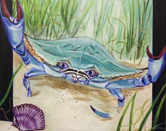 Blue Crab (acrylic painting, coastal, gulf coast, gulf of mexico, crab, southern wild, fierce creatures, sea, nature, florida, sea grass)
