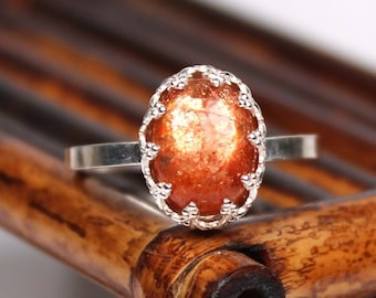 Sunstone Ring - Handmade Gemstone Sterling Silver Ring