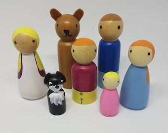 We're Going on a Bear Hunt Peg Dolls / Small World Play / Open Ended Play/ Preschool / Montessori / Waldorf / Wooden Toys / Educational