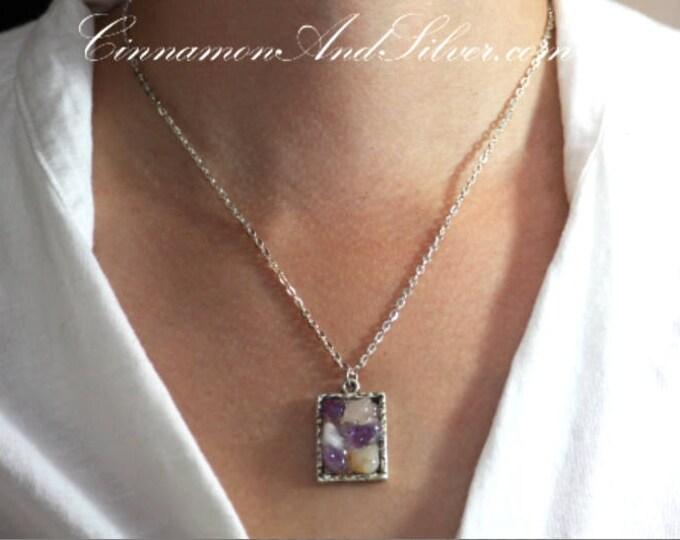 February Gemstone Amethyst Necklace, Purple Fluorite Necklace, Purple Gemstone Necklace, Purple Necklace, Purple Rectangle Boho Necklace