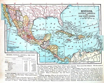 West indies map etsy mexico central america and the west indies map 1899 antique map antique world atlas gumiabroncs Image collections