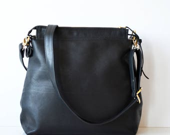 Black Leather hobo bag / Black Leather crossbody bag / Soft black leather shoulder bag /  Leather Handbag with Linen / Leather shoulder bag