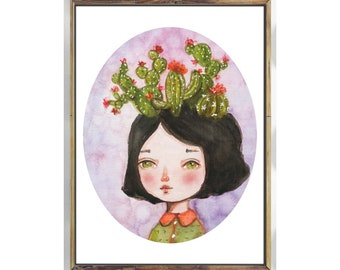 THE CACTUS GIRL - I'm obsessed with cacti, and I had to do a self portrait with one of my favorite obsessions in a watercolor painting