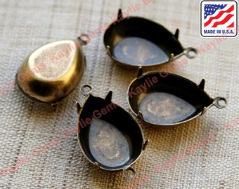 18x13 Pear Tear Drop Close Closed Back Prong Settings 1 Ring 2 Ring OX, Oxidized Antique Brass Made in USA - 4pcs