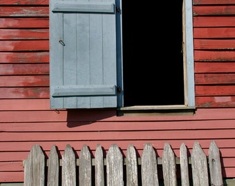Wide Open - rural photograph - window rustic travel pink house building