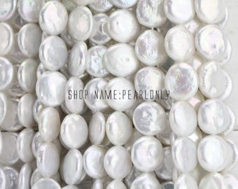 12-13mm AA White coin pearl strand,freshwater pearl beads,good quality,diy bead, flat round pearl bead strings,large hole pearls 1mm,1.5mm