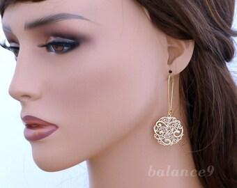 Filigree disc earrings, Gold dangle earrings, Long Earrings. Boho Chic