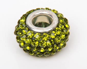 2 European o15 crystals with olive green beads