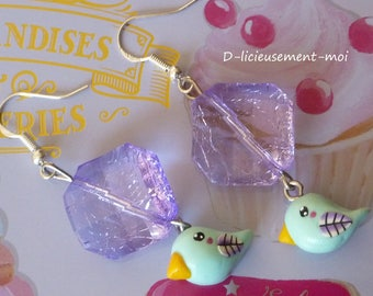 Silver sterling 925 earrings with a pastel green kawaii bird made with polymer clay and big mauve bead