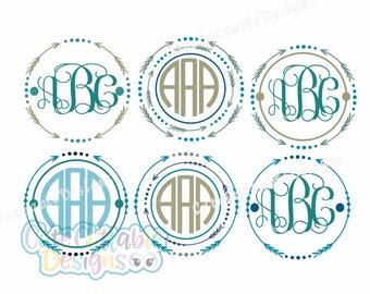 Arrow Monogram Svg Files, Cute Arrow Svg Digital Design, Cutting files for Silhouette & Cricut - Svg Dxf Eps, Png Silhouette Cuttable Frames