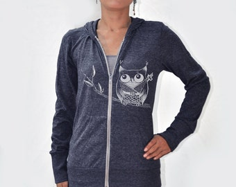 Japanese inspired kawaii Women Ninja Owl Eco Hether Zip Hoodie Heather navy blue
